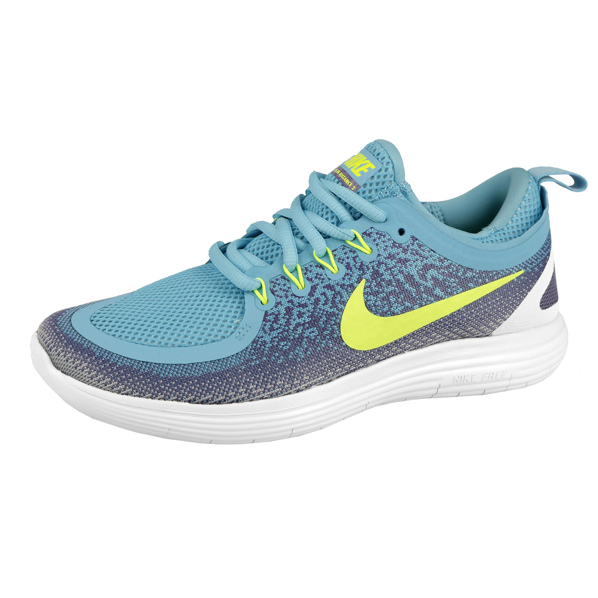 low priced 8fdd4 55741 Nike Free RN Distance 2 Natural Running Shoe Women - Light Blue, Lemon