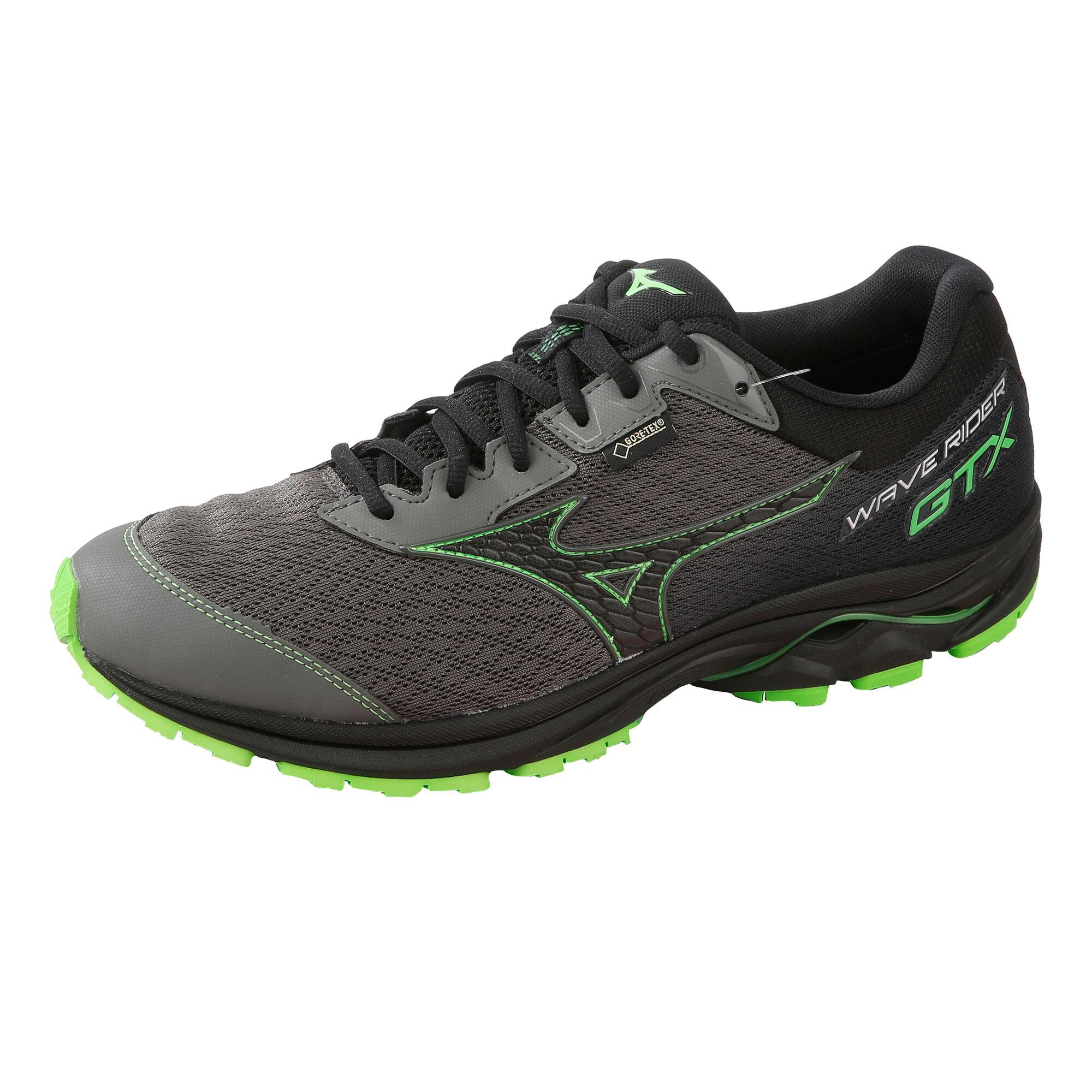 2f5adbc8704 Mizuno Wave Rider GTX Neutral Running Shoe Men - Black, Lime